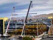 installation with cranes of 85 kilowatt solar array in missoula montana parking structure